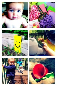 Photos of a baby, gift wrap, happy face, sand box
